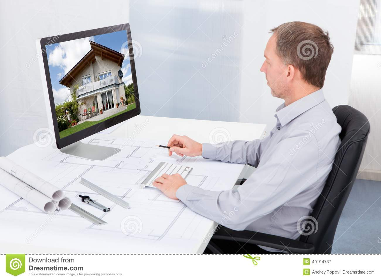 Architect working on computer stock image image of for Architect online free