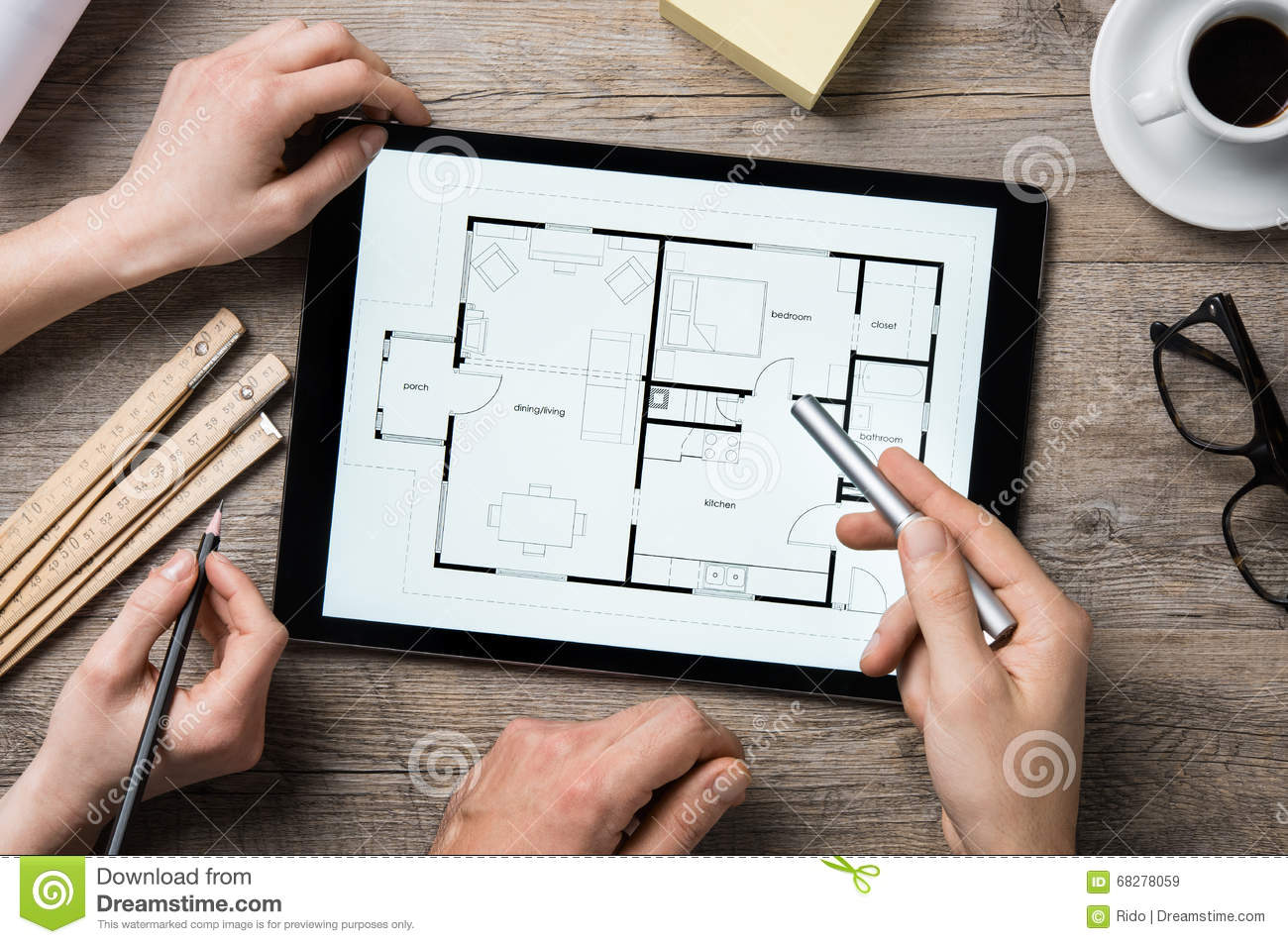 architect working on digital tablet stock image   image