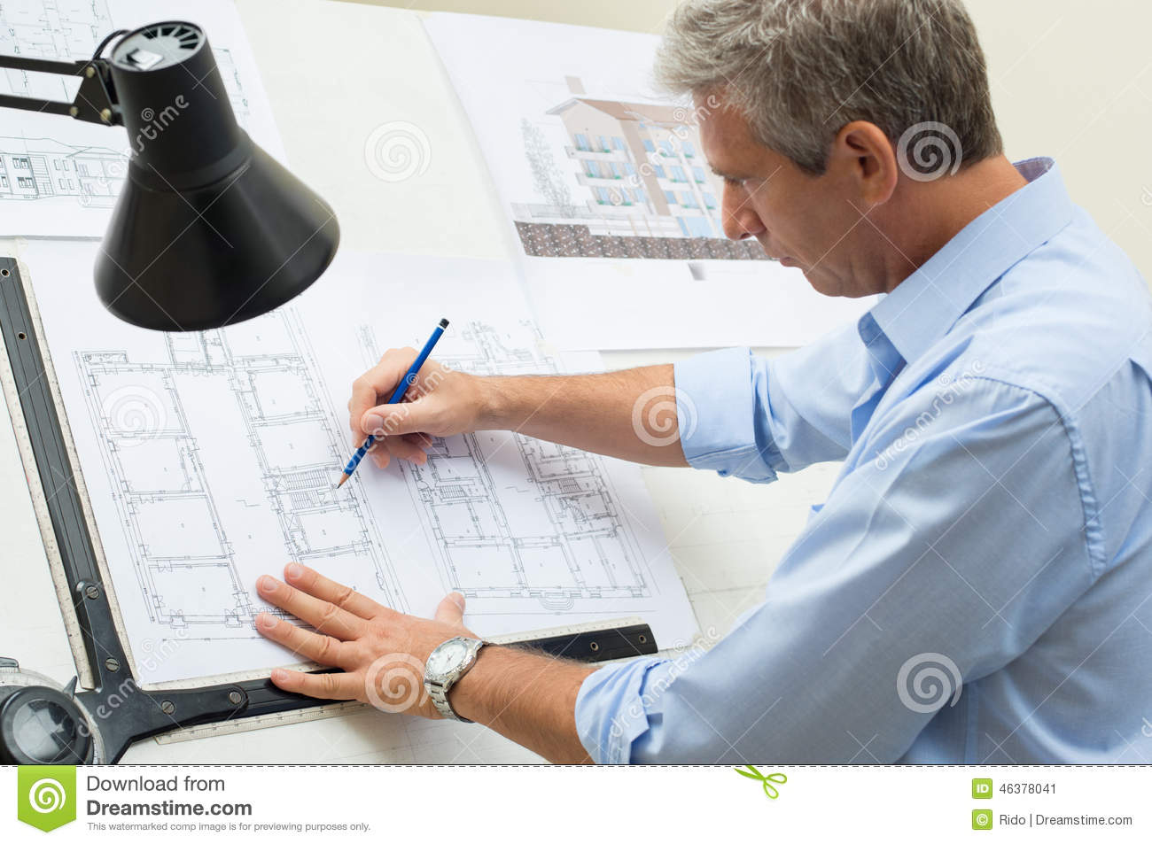Architect Working At Drawing Table Stock Photo Image