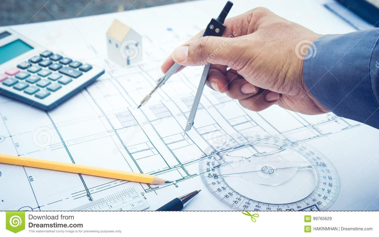 Architect Working With Plan Design Concept Of Architecture