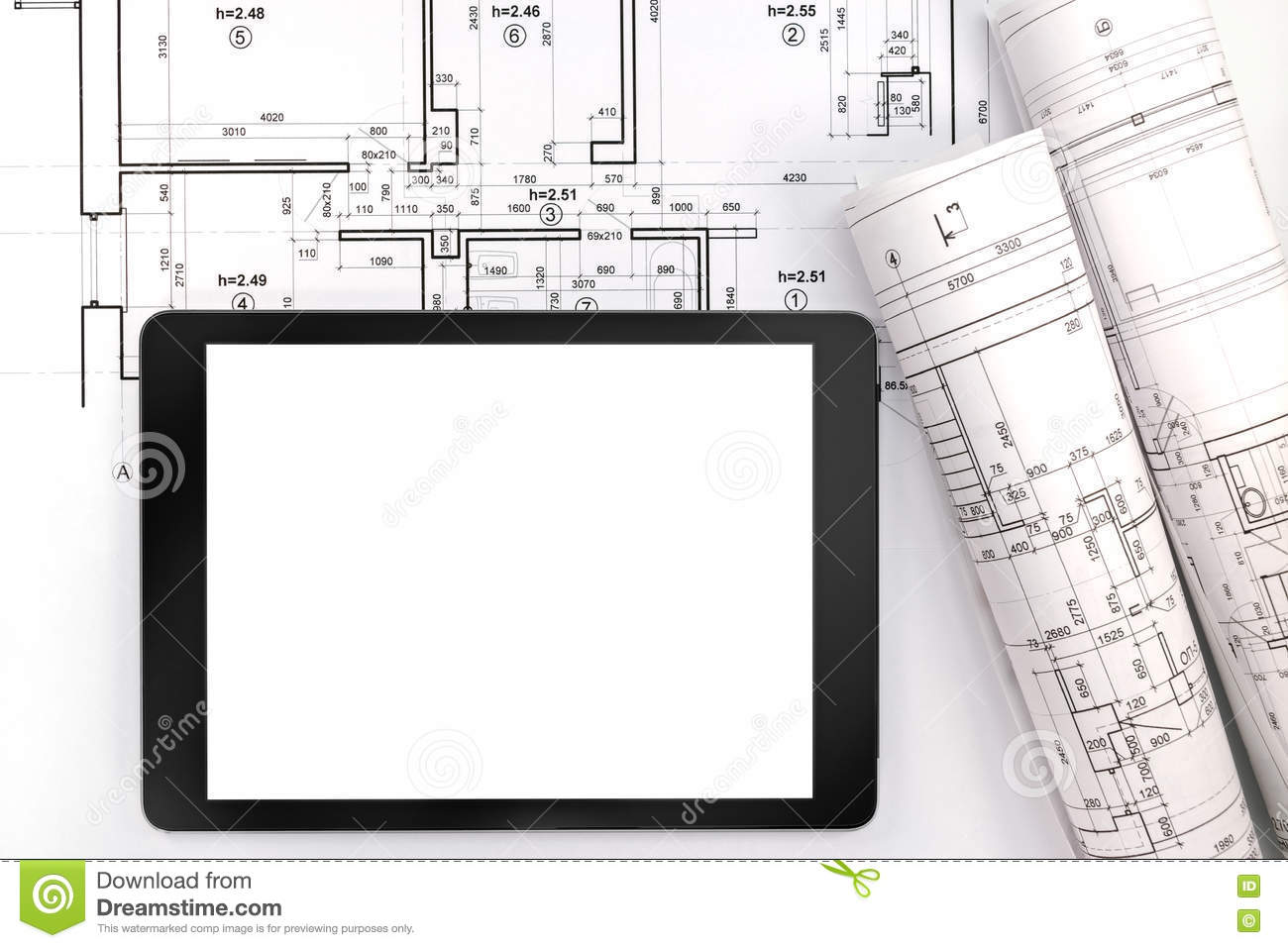 Architect workspace with blueprint rolls and tablet computer stock download architect workspace with blueprint rolls and tablet computer stock photo image of project malvernweather Gallery
