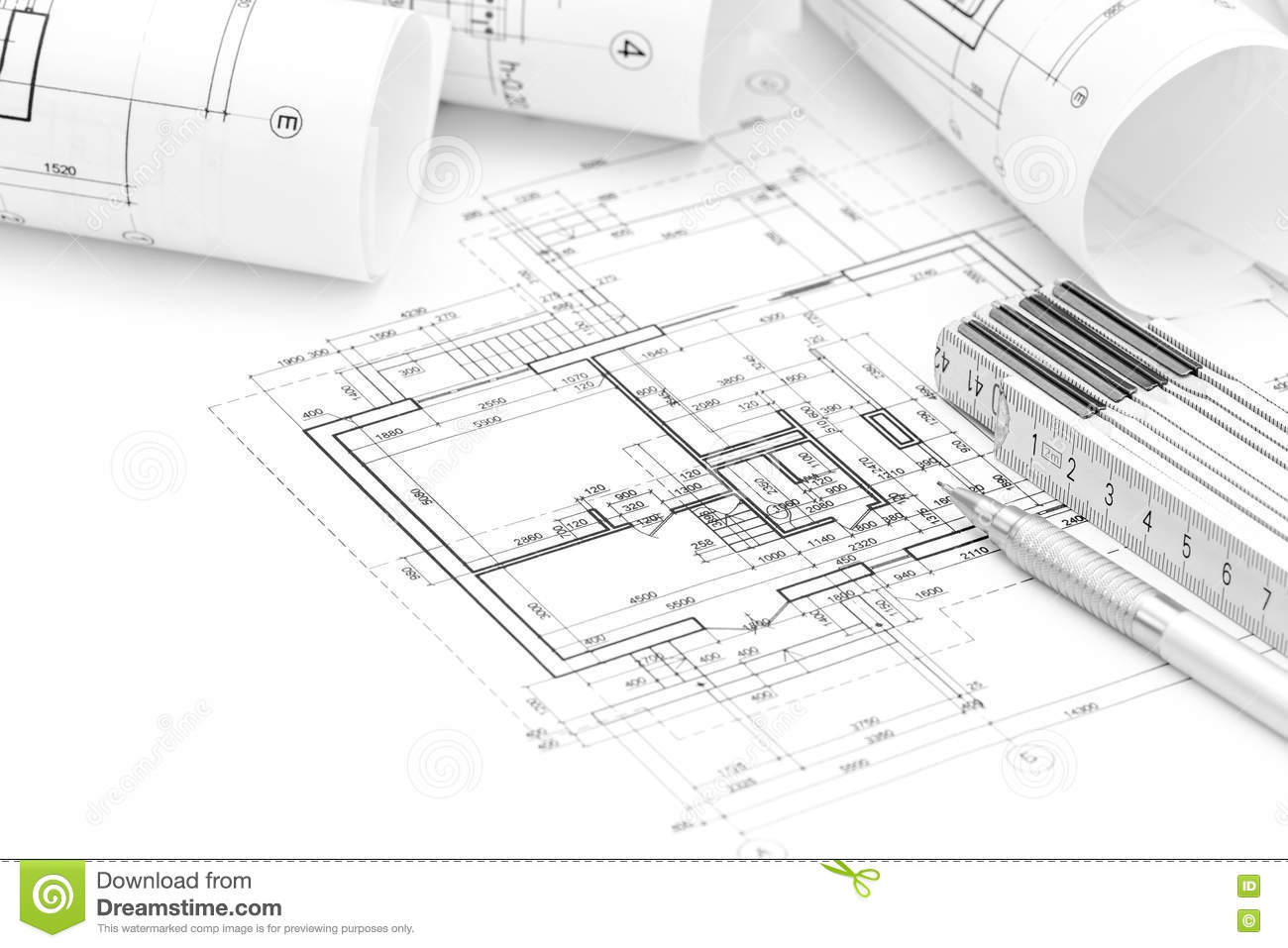 Architect Workspace With Plan, Rolled Blueprints And Folding