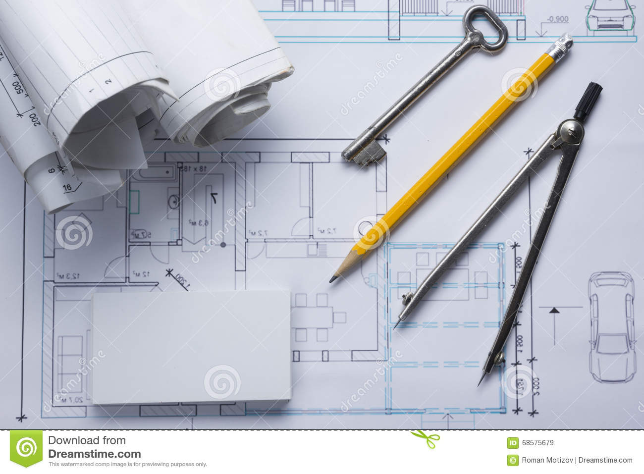 Architect worplace top view architectural project blueprints architect worplace top view architectural project blueprints blueprint rolls and divider compass key blank construction business malvernweather Choice Image