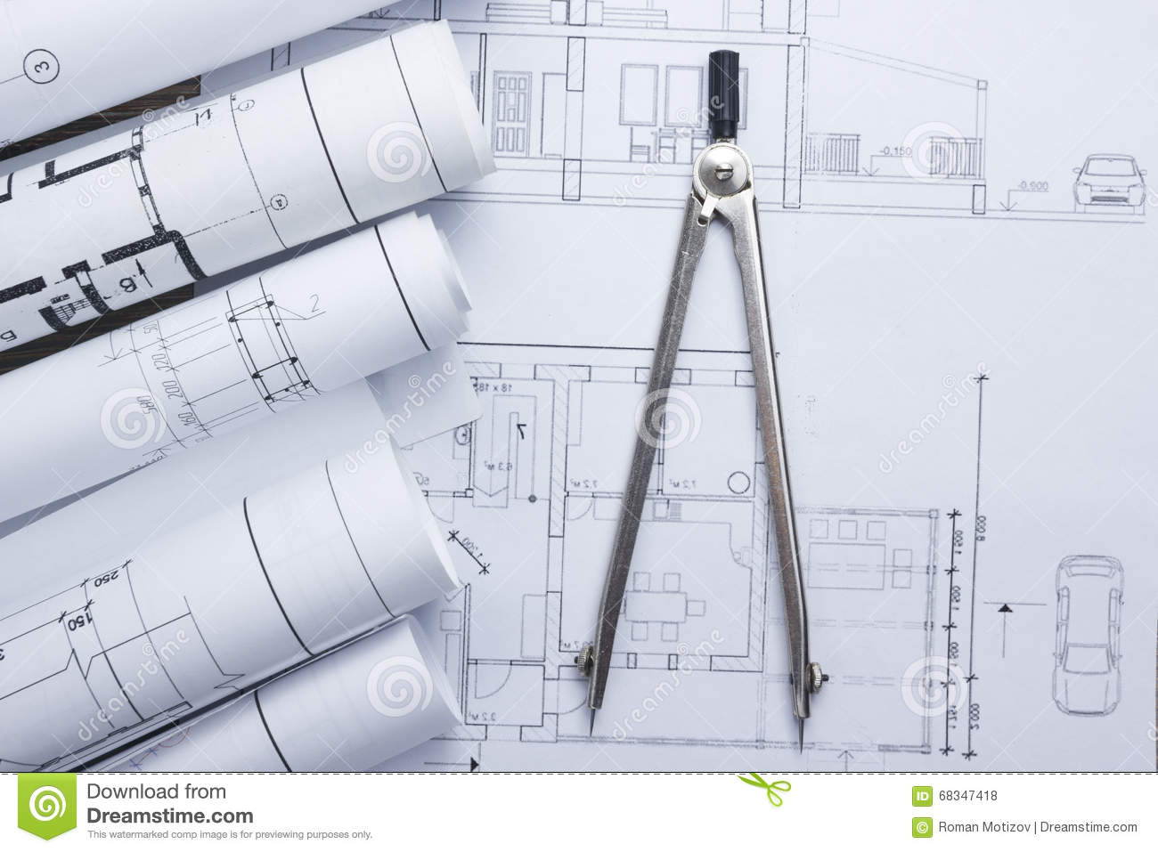 Architect worplace top view architectural project for Architecture blueprint