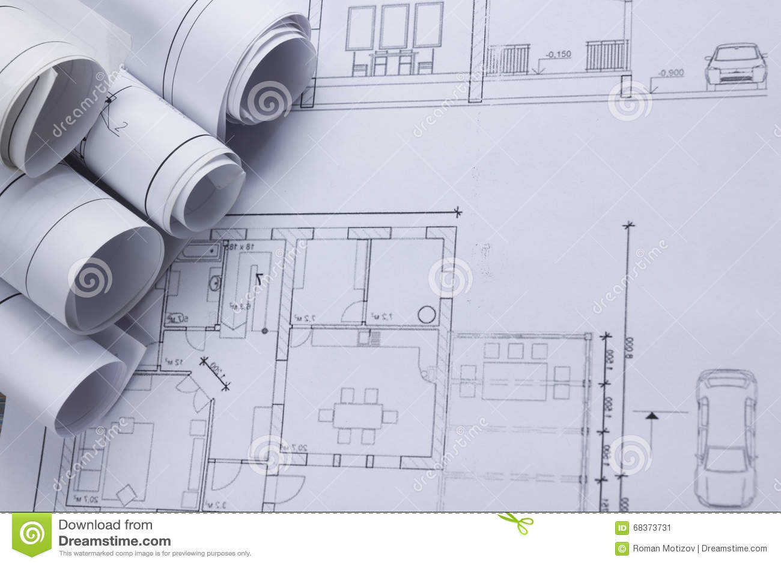architect worplace top view architectural project blueprints blueprint rolls on plans construction