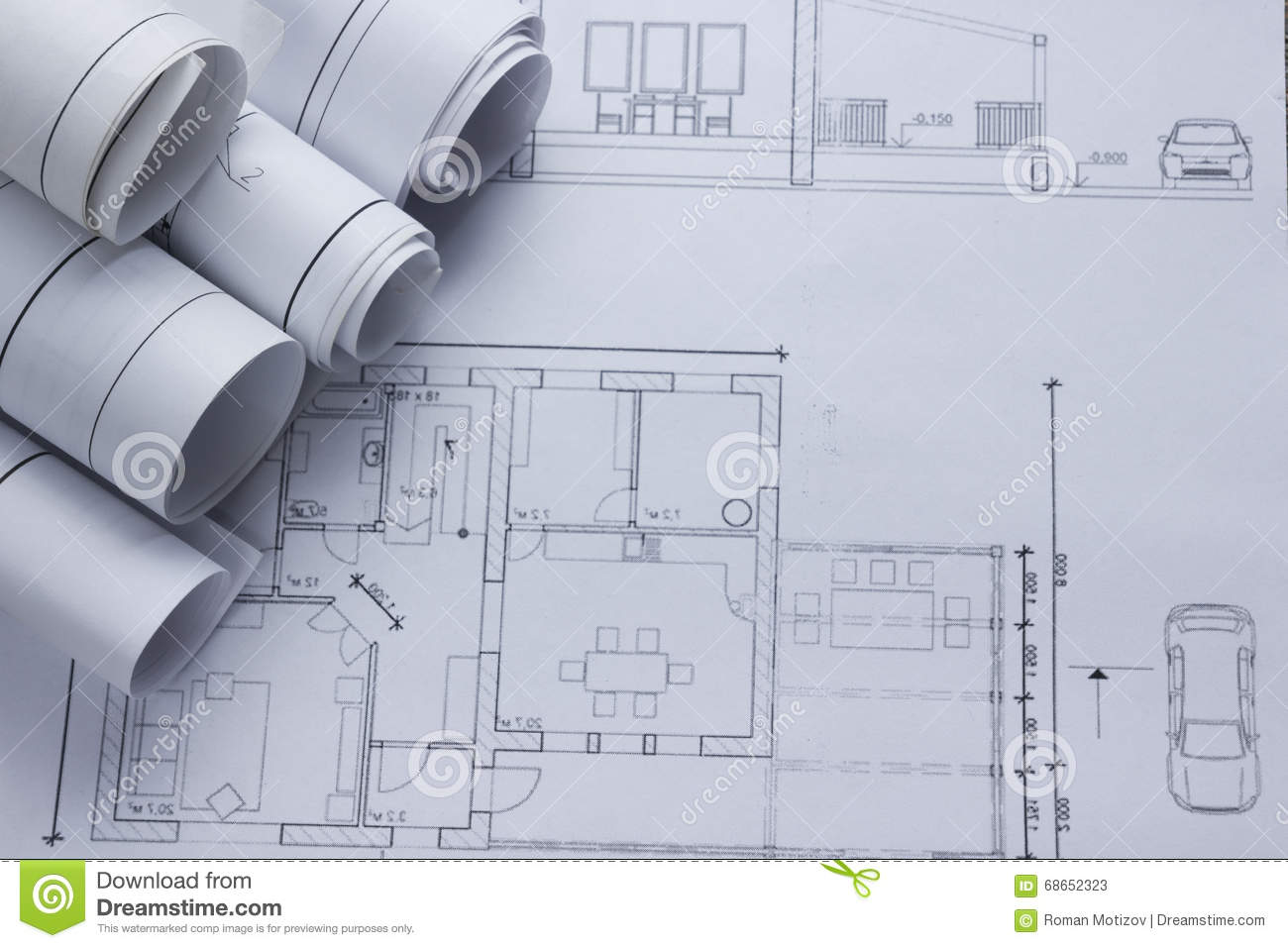 Architect worplace top view architectural project for Architecture design blueprint