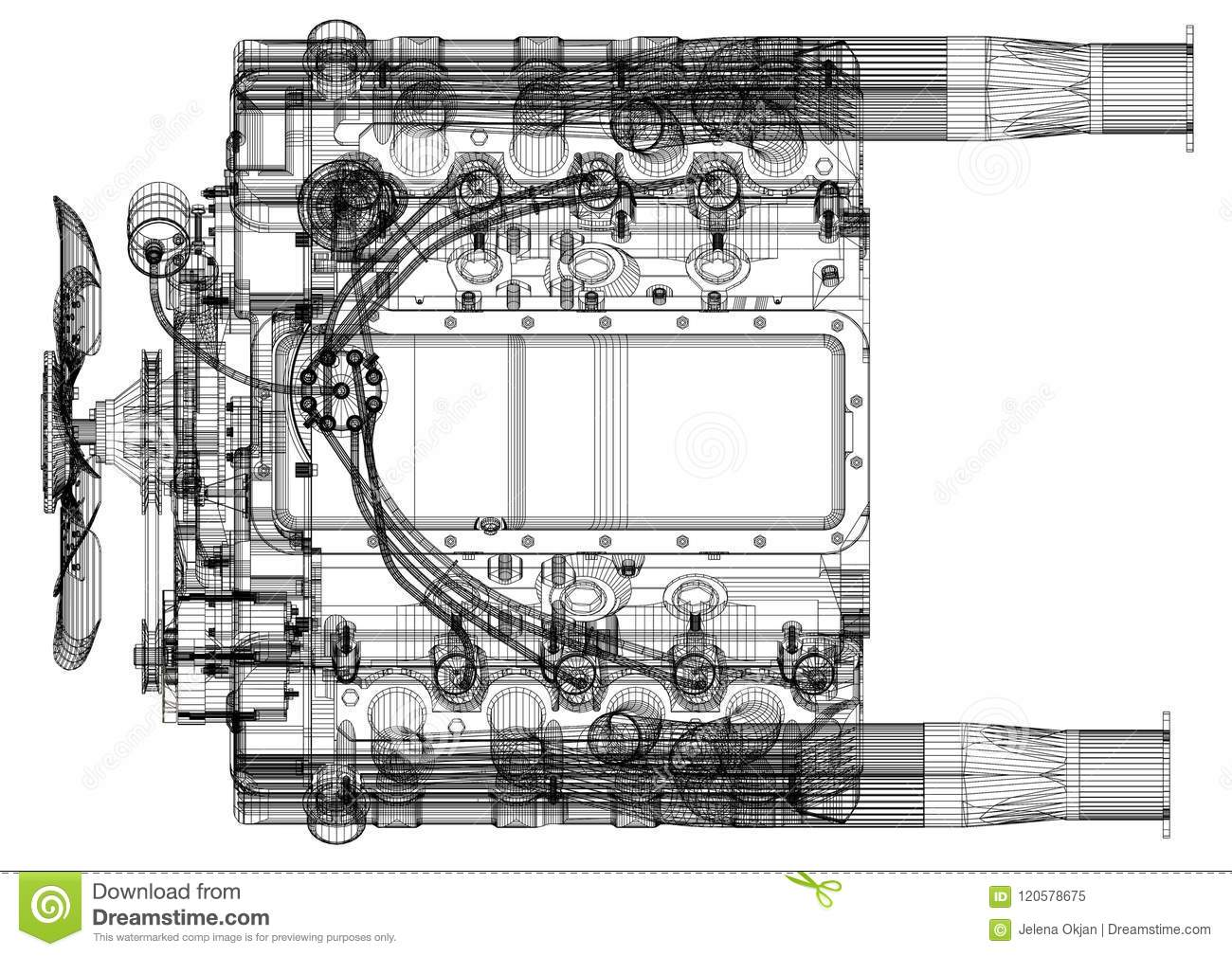 Architecte Blueprint de conception de moteur de voiture - d isolement