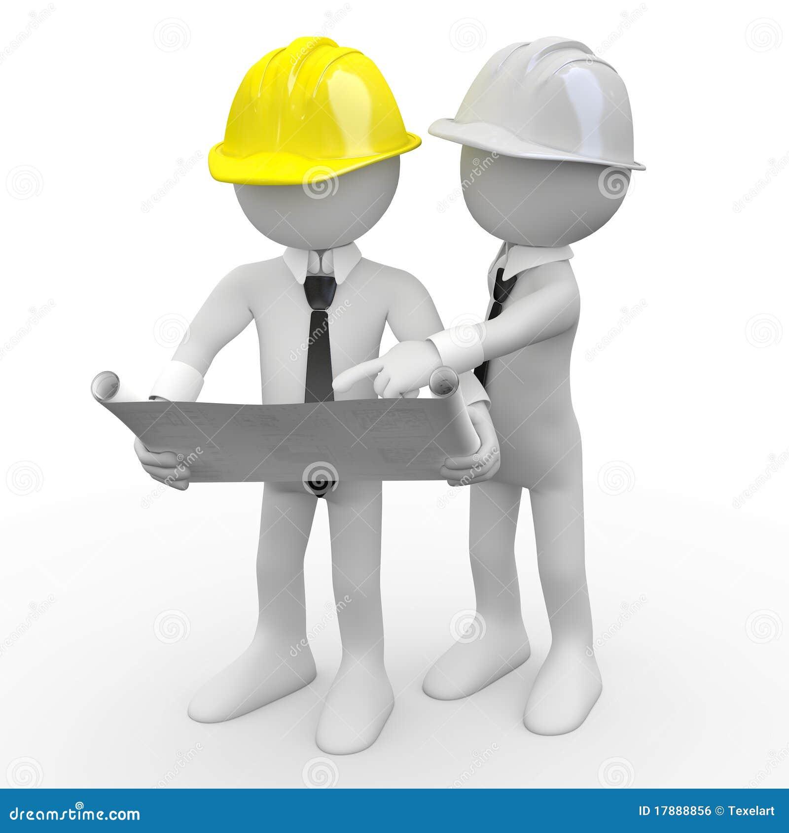 Architecte en chef regardant des plans tandis qu un autre arc