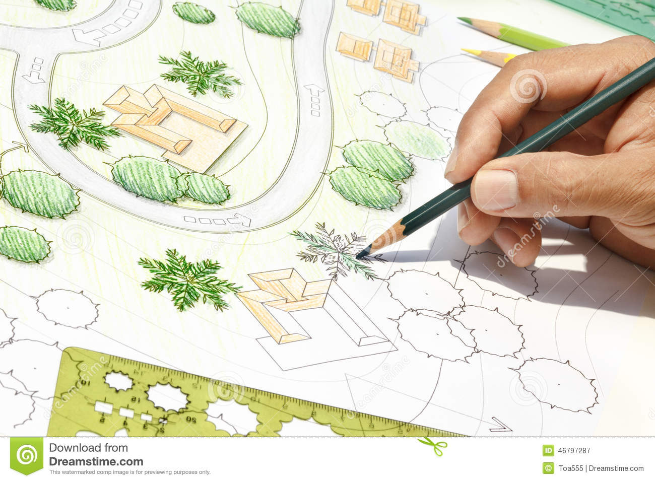 Architecte paysagiste designing sur le plan de situation for Site de paysagiste