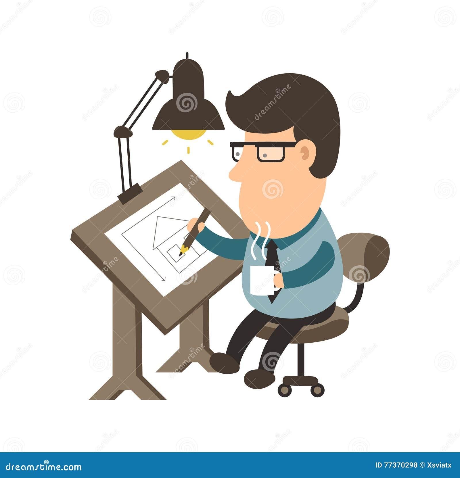 Architecte travaillant au bureau Renfermez le projet conception de personnages plate d illustration de rapporteur