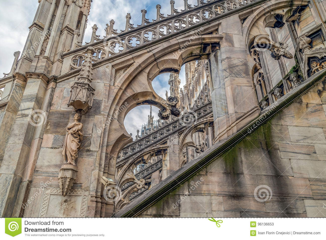 Architectonic details from the famous Milan Cathedral, Italy