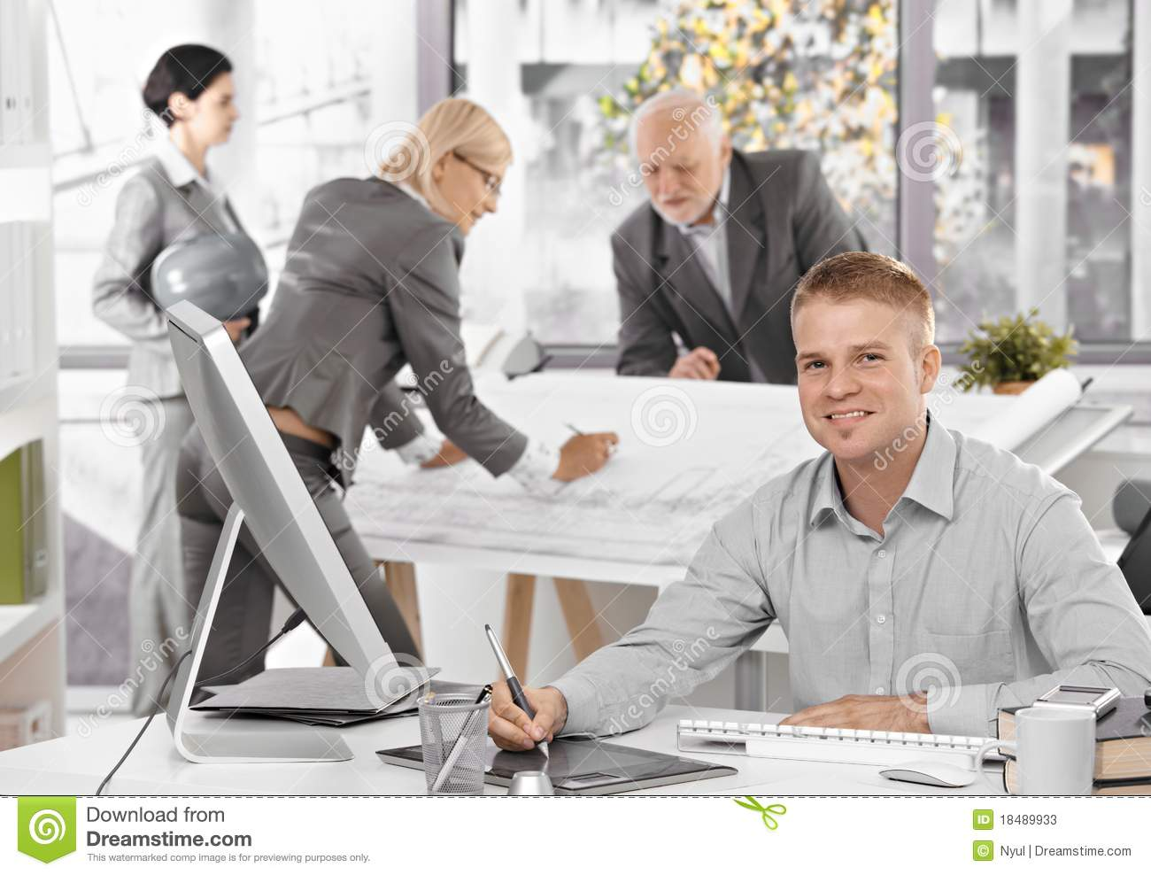 Architects busy at work stock image. Image of ...