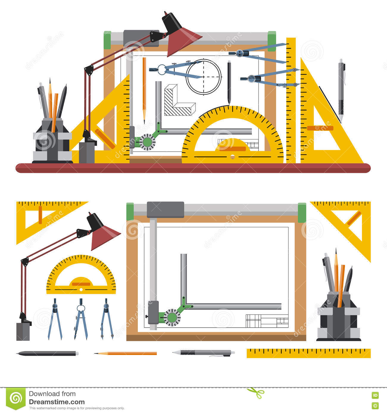 Architects And Designer Workplace Vector Illustration In Flat Style Drawing Tools Board Instruments On White