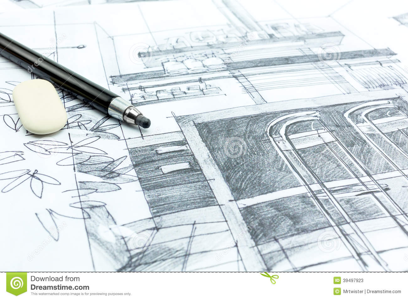 Architects drawing stock illustration image 39497923 - Hand drafting for interior design ...