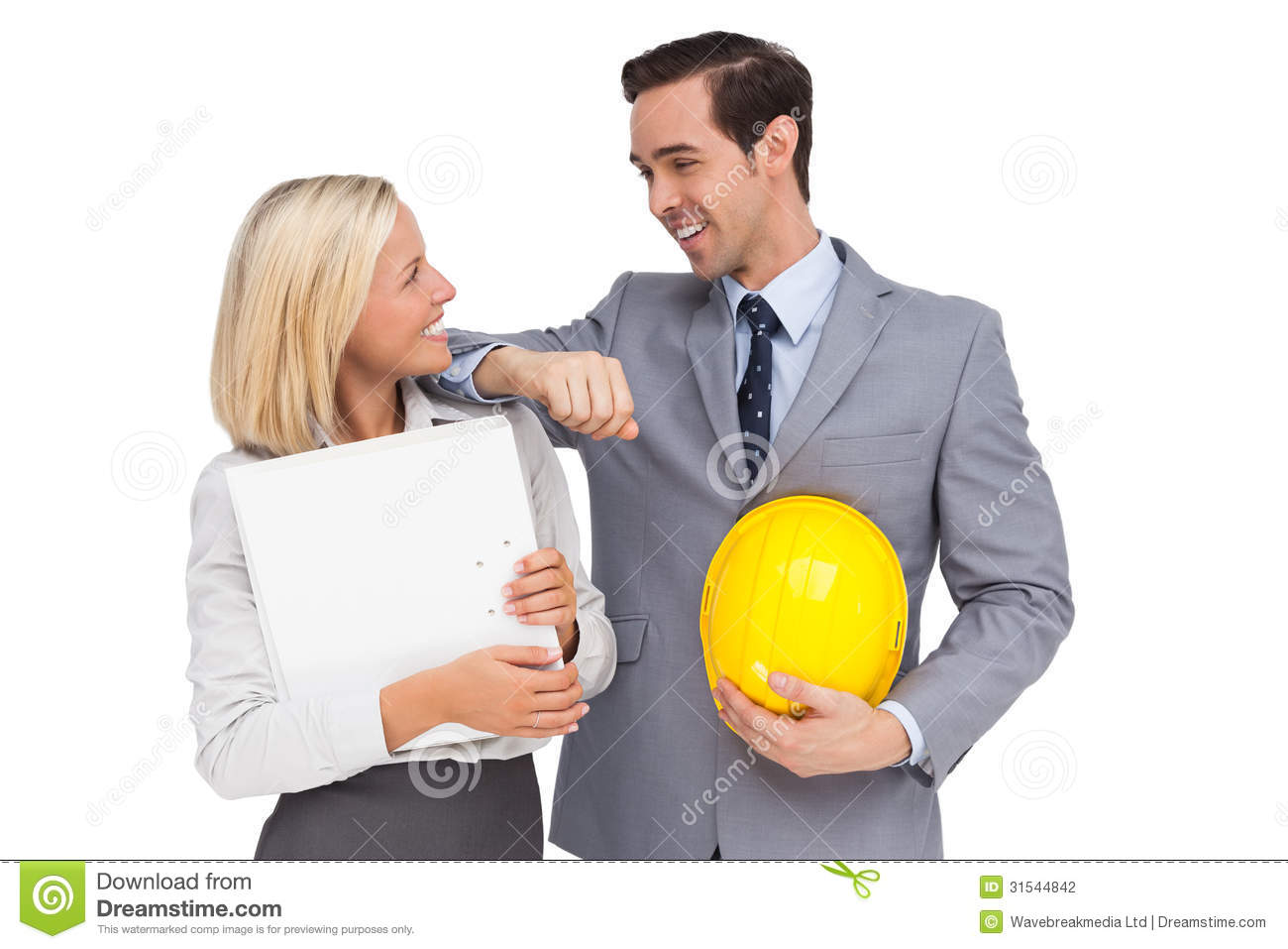 Architects With Plans And Hard Hat Smiling At Each Other