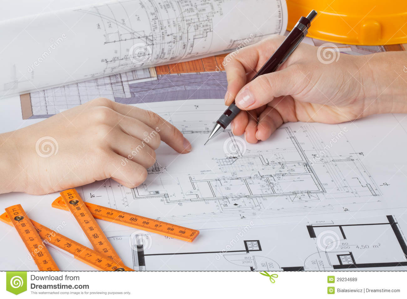 Architects At Work Stock Image Image Of Prints Plan