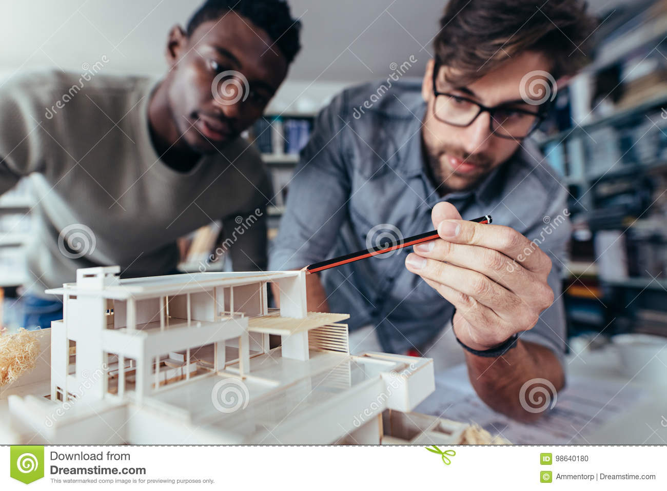 Architects working on new architectural house model