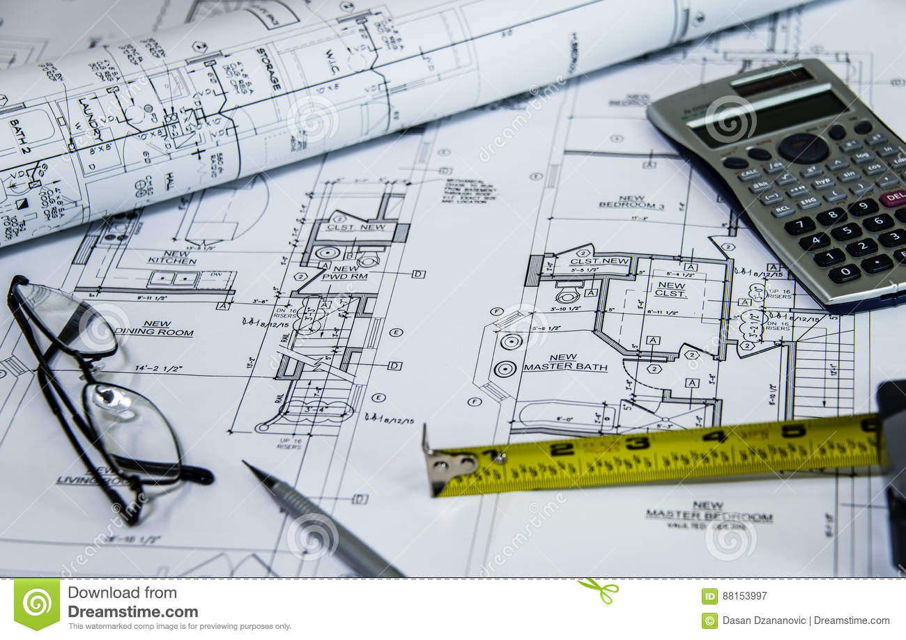 Architects workplace top view of blueprints architectural projects download architects workplace top view of blueprints architectural projects blueprints blueprint rolls on malvernweather Images