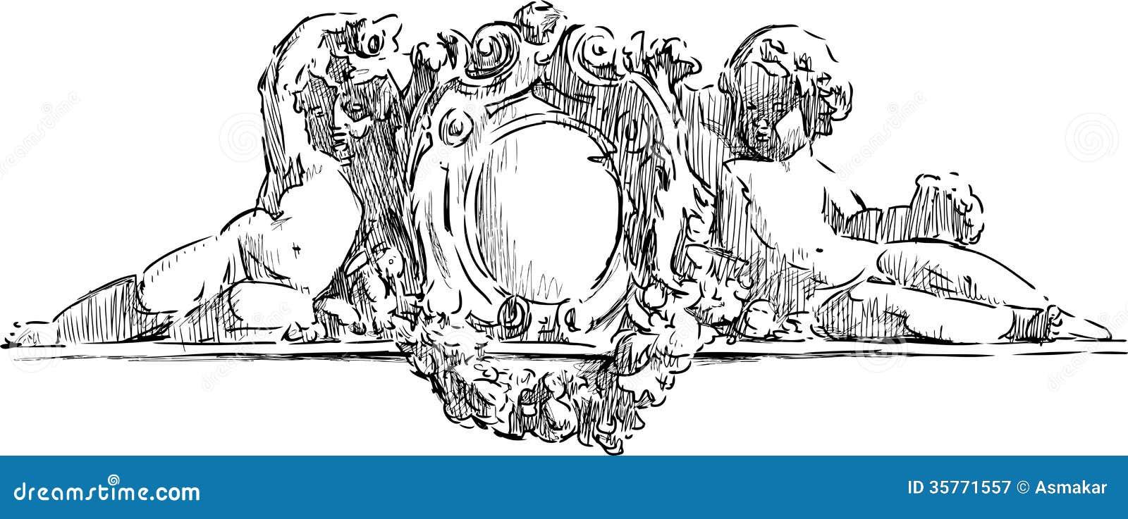 Architecturaal detail met engelen
