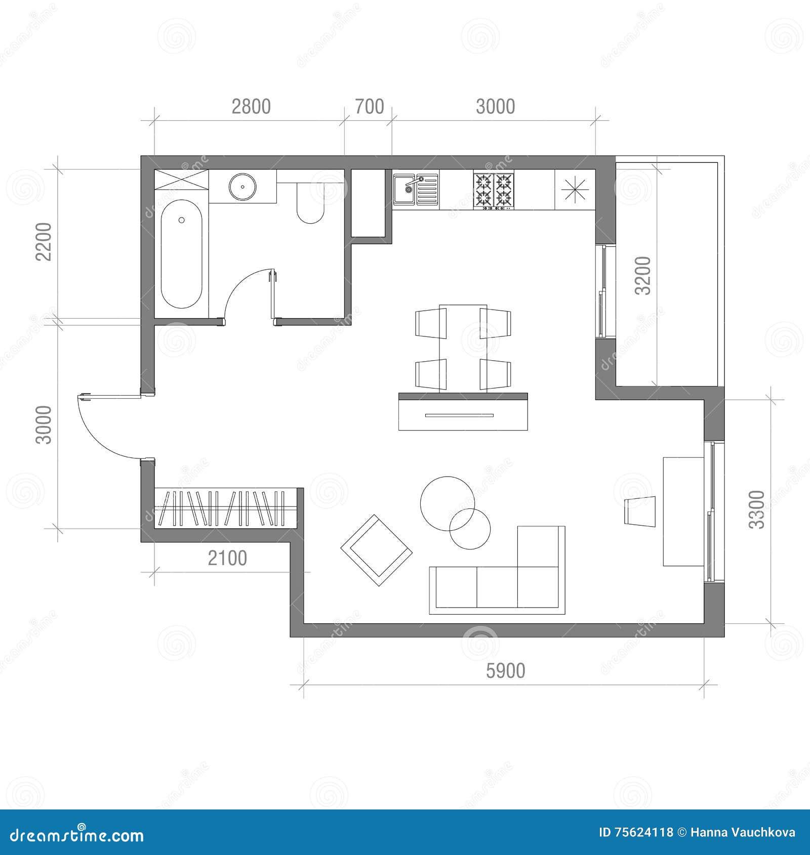 architecturaal vloerplan met afmetingen zitslaapkamer vectorillustratie de hoogste reeks van het meningsmeubilair woonkamer keuk
