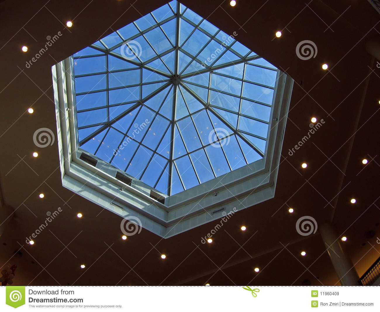 Architectural Abstract Glass Roof Ceiling Stock Image