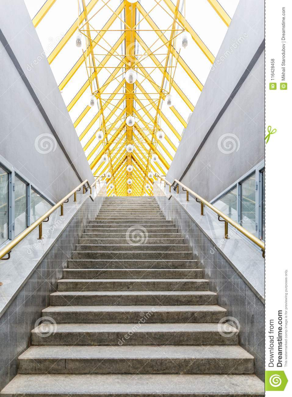 Architectural Abstract And Perspective View, Metal Structures With Glass  Roof And Stairs