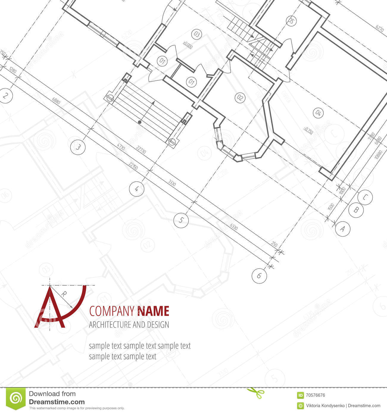 Architectural Building Plan Vector Royalty Free Stock Photography