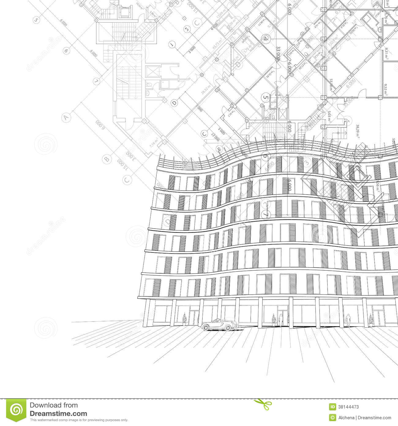 architectural background with building and plans stock