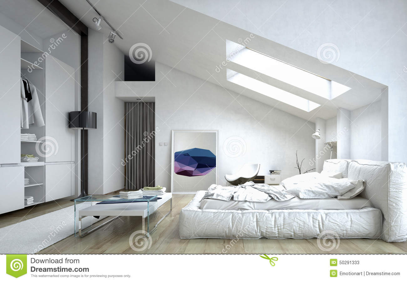 Architectural bedroom inside white house stock for Maison interieur deco