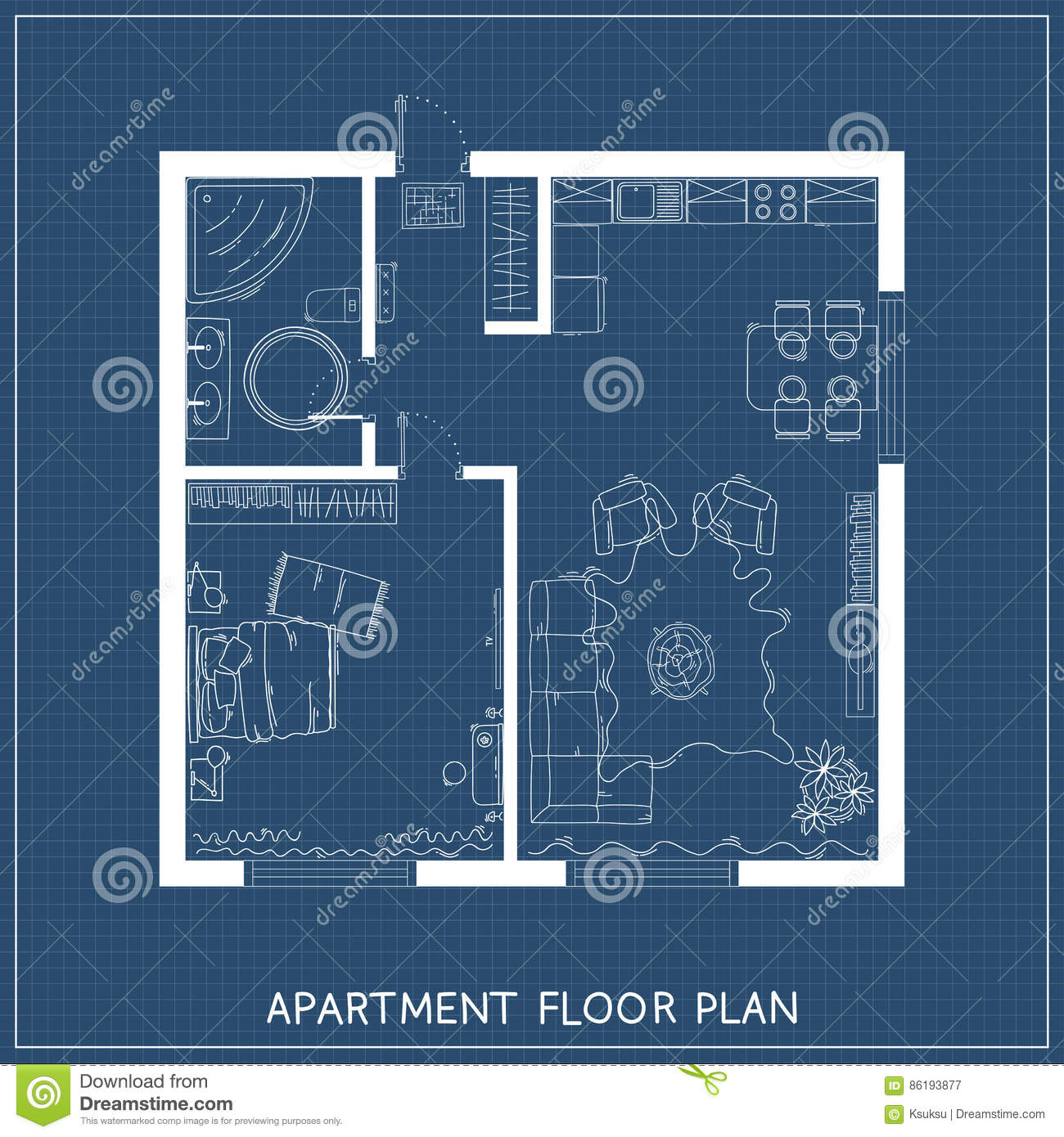 Architectural Blueprint With Furniture In Top View. One Bedroom Apartment  With Hand Drawn Furniture