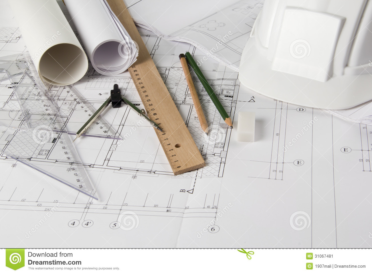 Architectural Blueprints And Drawing Tools Stock Image