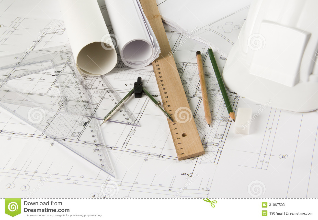 Architectural blueprints and drawing tools stock image for Interior design drawing tools