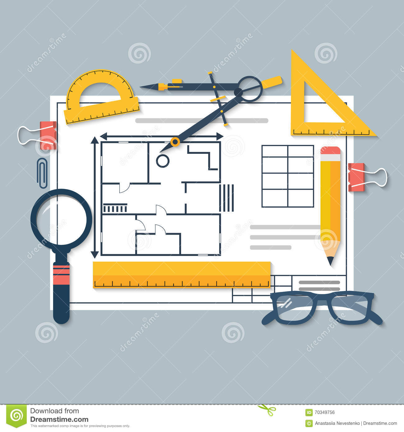 Architectural Blueprints And Drawing Tools Workplace Of