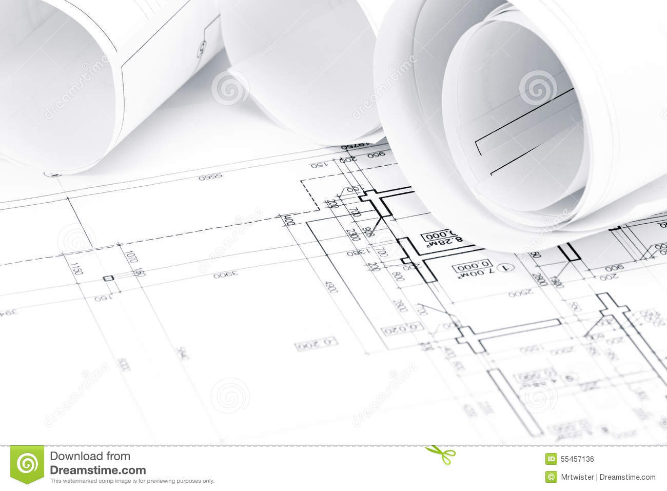 Architectural Blueprints With House Plans Stock Photo Image Of