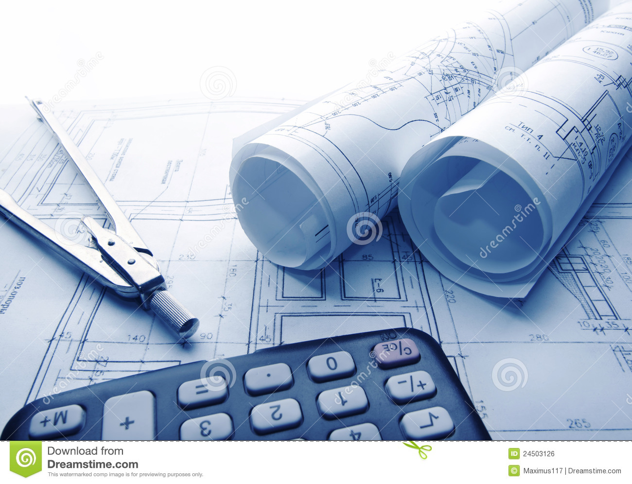 Architectural blueprints rolls royalty free stock image for Architecture design blueprint