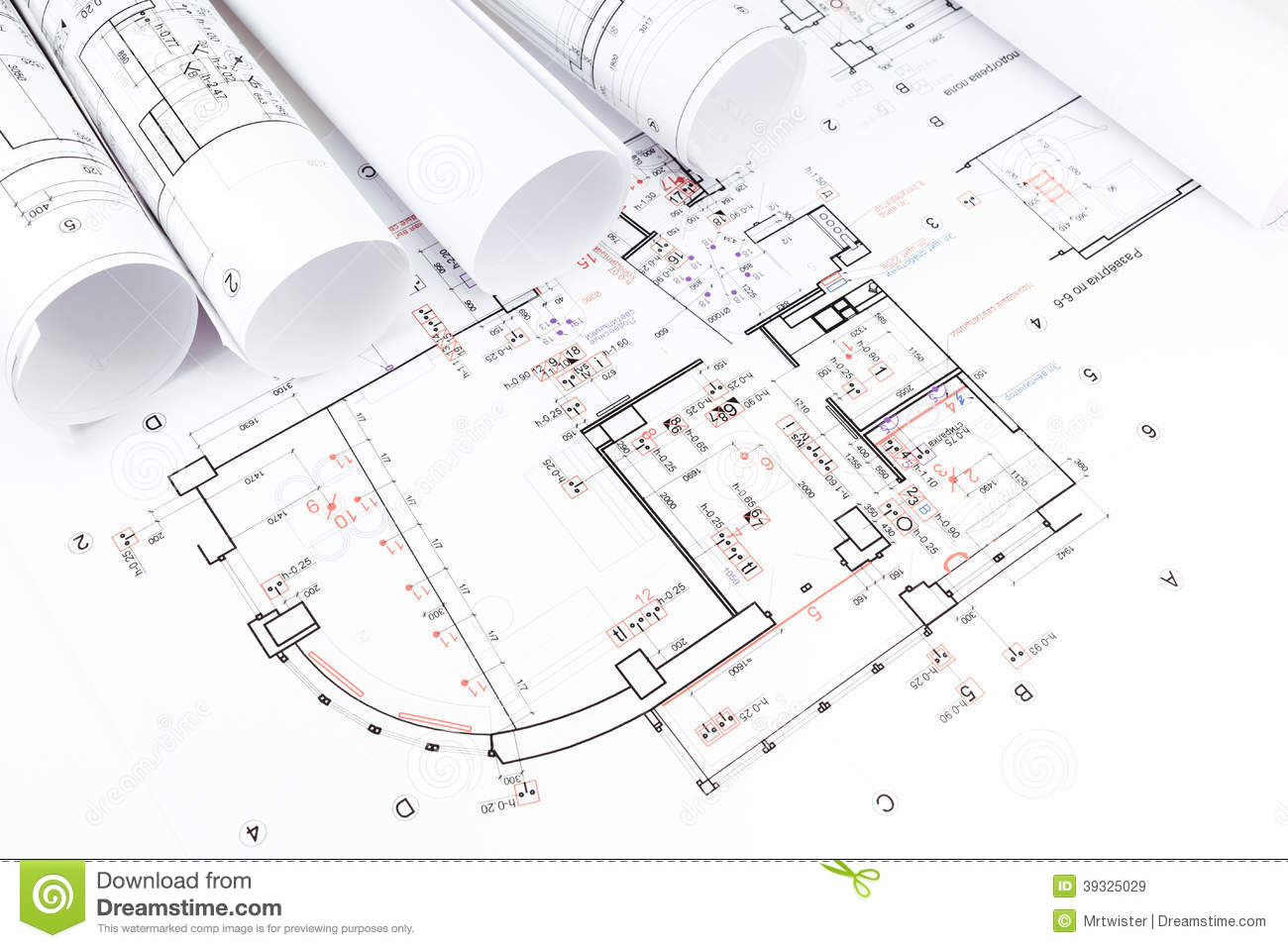 Architectural blueprints rolls stock image image 39325029 for Blueprint of my house online