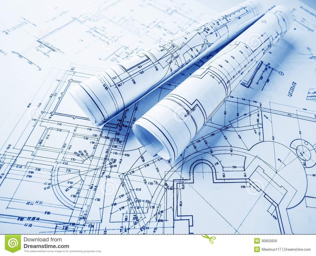 Architectural blueprints rolls stock photo image 30602656 for Printing architectural drawings