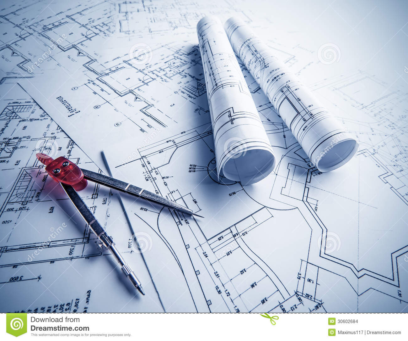 Architectural blueprints rolls stock images image 30602684 for Architecture blueprints