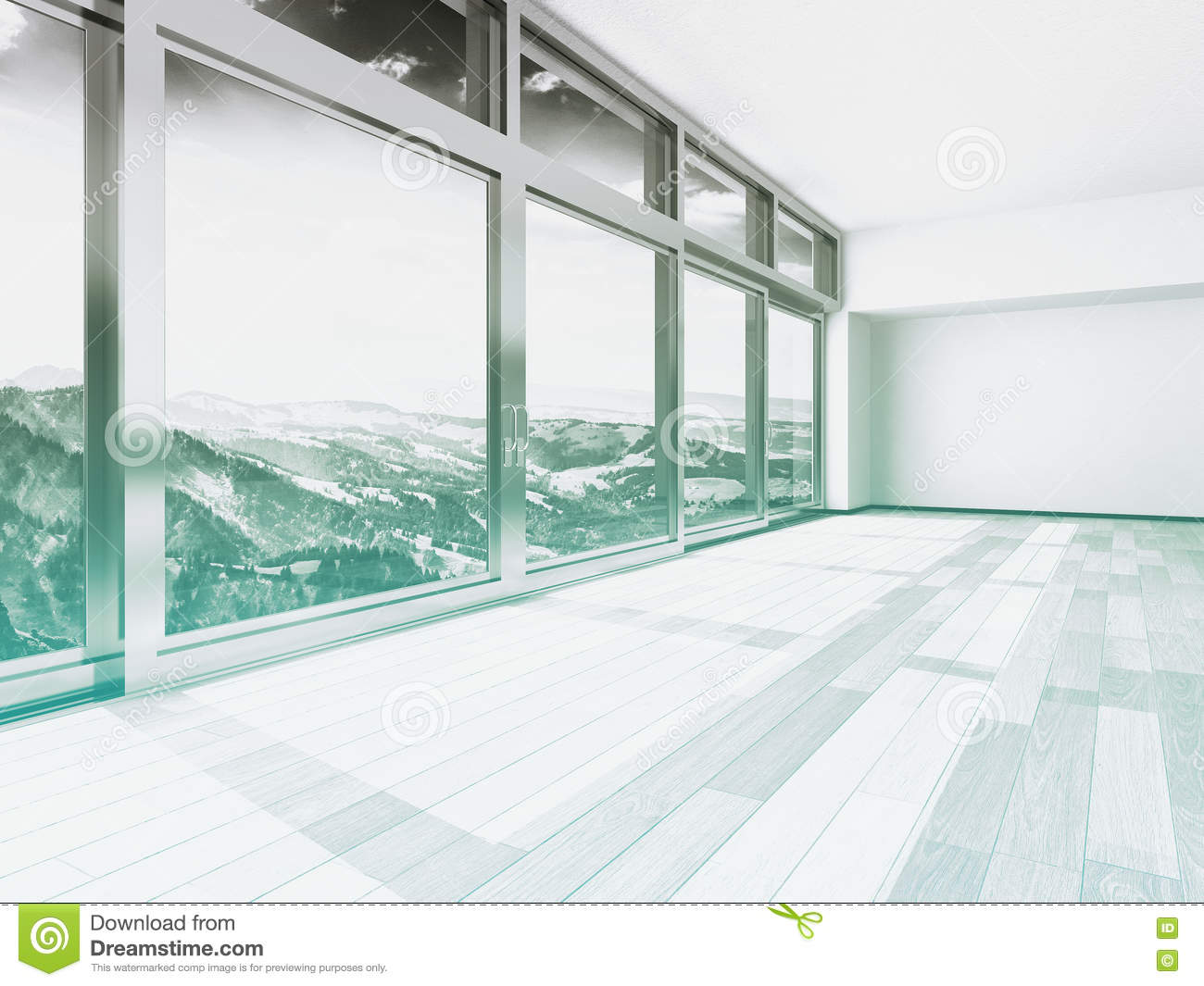 Architectural Building Interior with Glass Windows