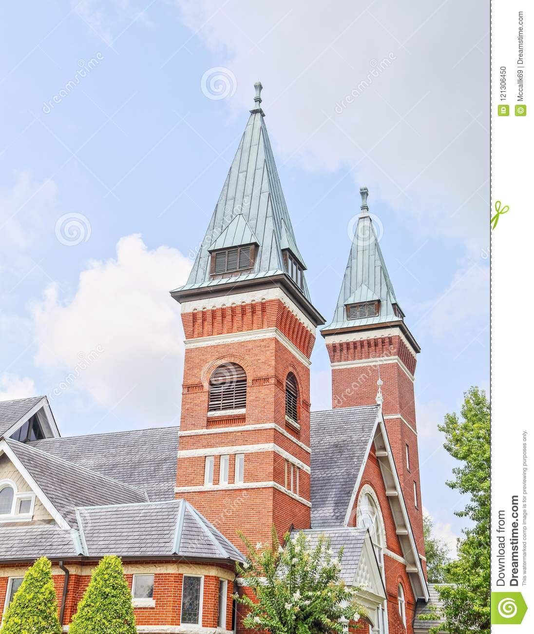 Architectural Church Steeple In Troy, Alabama Editorial