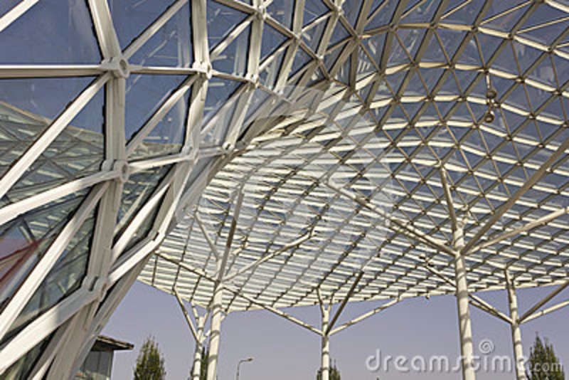 Architectural close up of the glass roofing of Milano Fiera