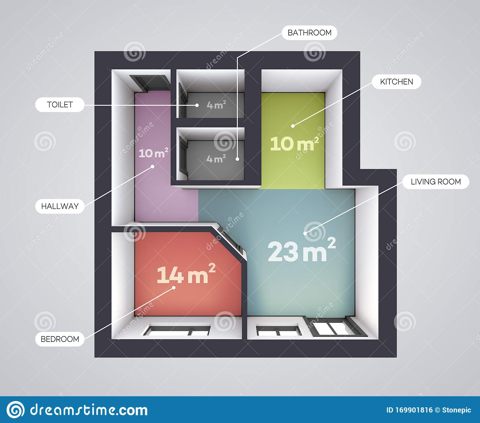 Architectural Color Floor Plan One Bedroom Studio Apartment Top View Rendering Style Stock Vector Illustration Of Modern Architectural 169901816