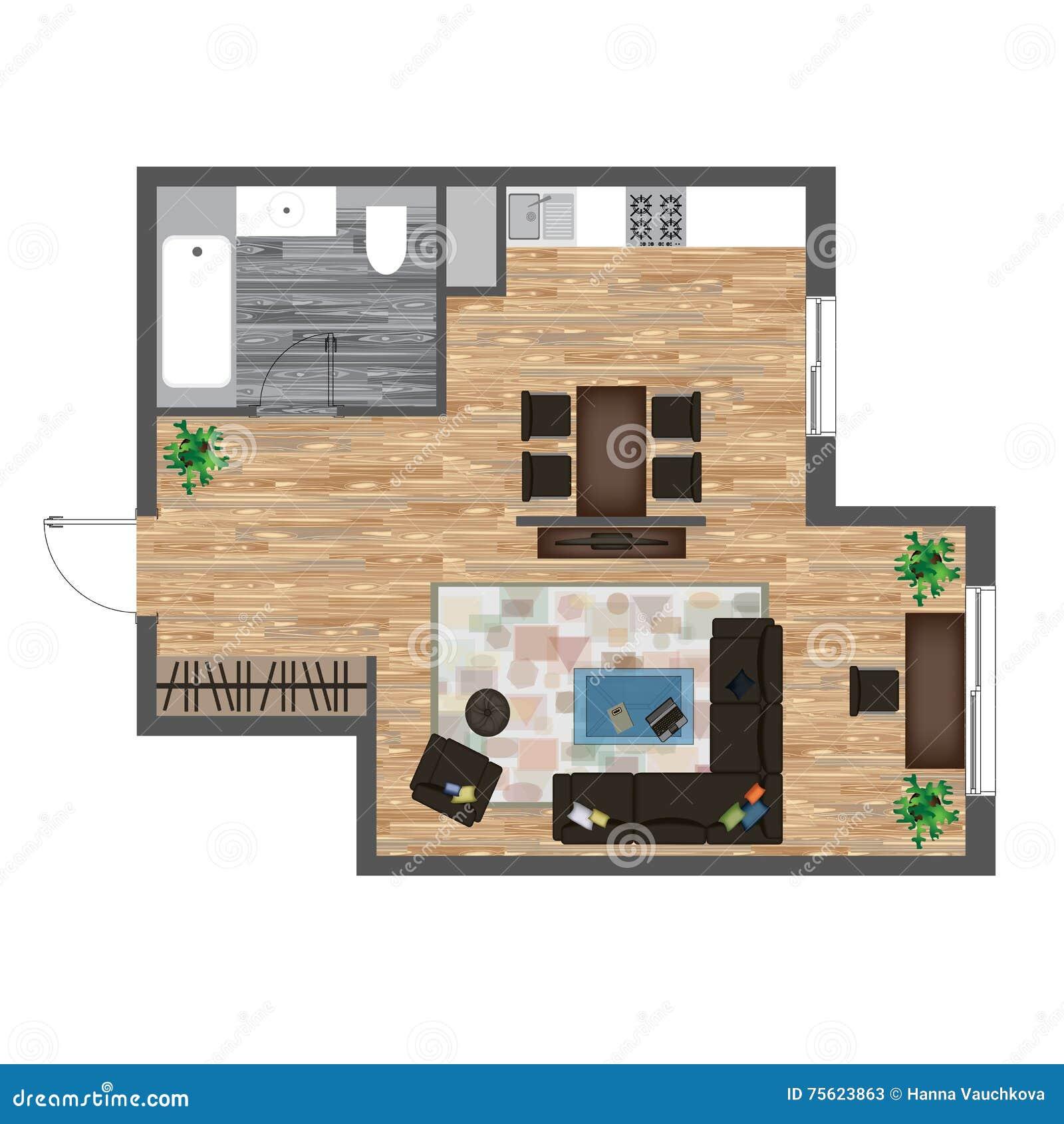 Kitchen Set Top View: Architectural Color Floor Plan. Studio Apartment Vector
