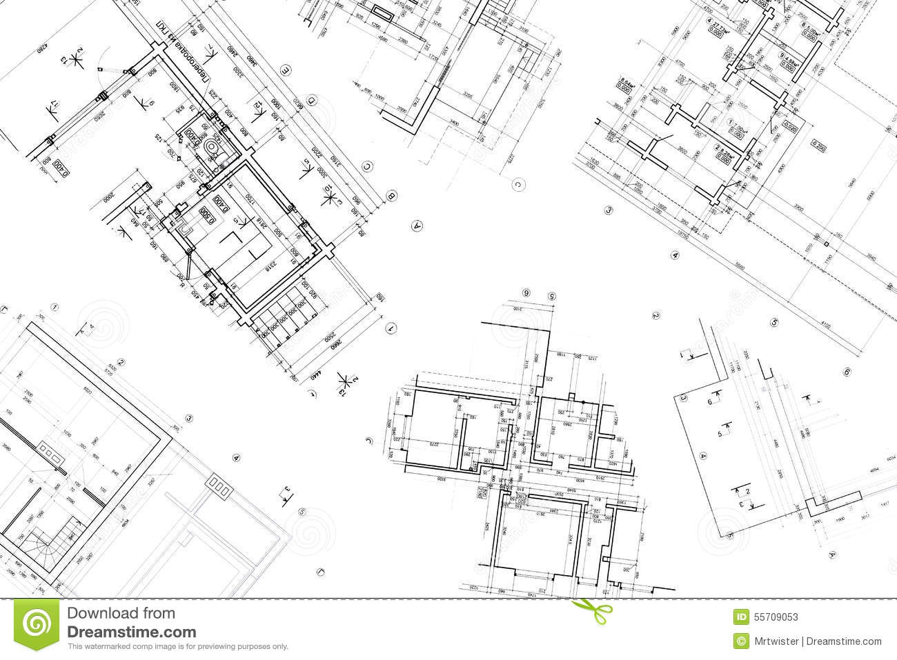 Architectural Construction Documents And Floor Plans Stock Image