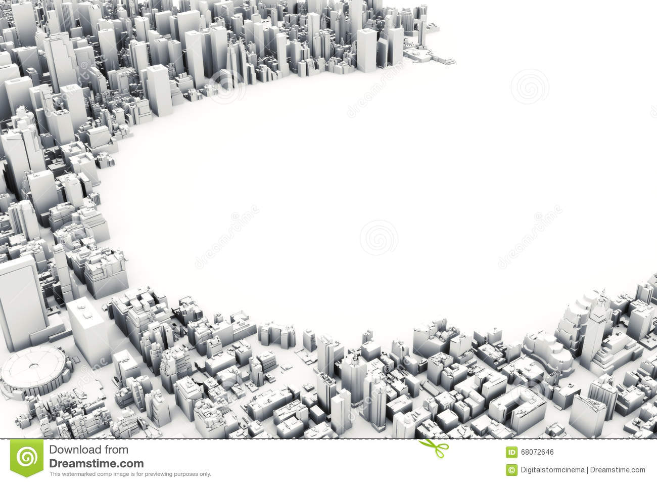 Picture Book Illustration Making An Architectural Model: Architectural 3D Model Illustration Of A Large City On A