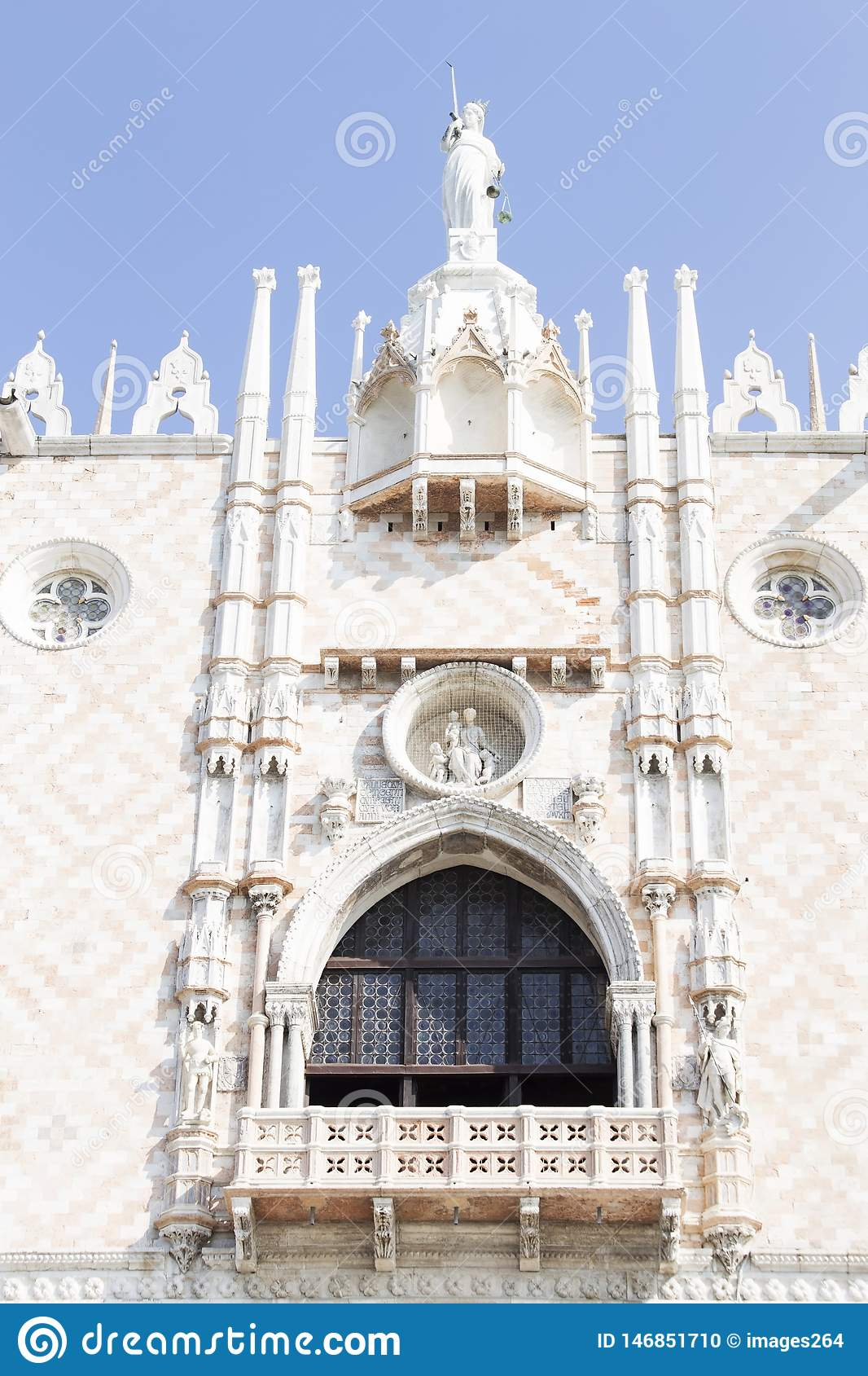 Architectural decoration from Doge`s palaceon the St Mark`s Square in Venice