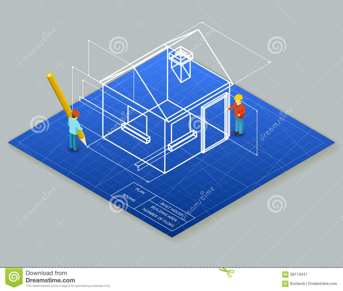Architectural Design Blueprint Drawing 3d Stock Vector