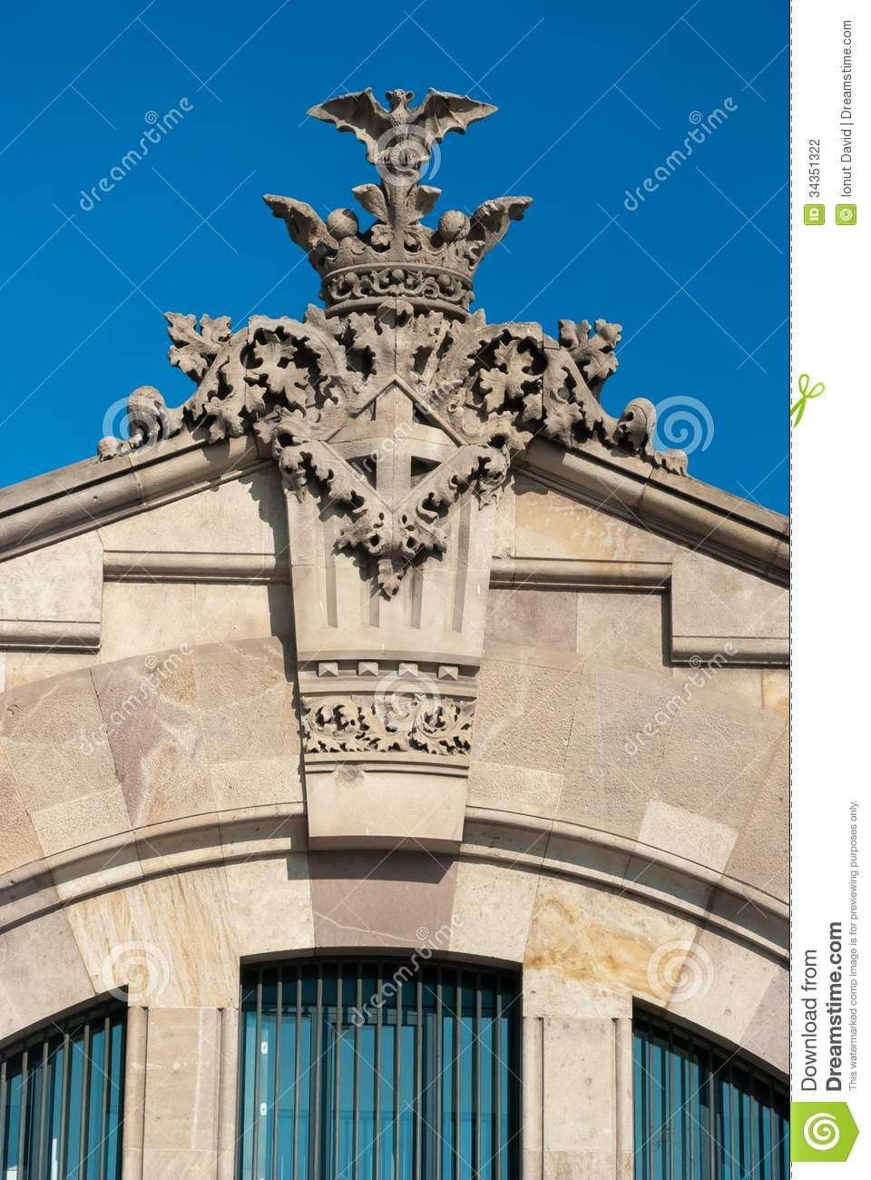 Architectural detail in barcelona spain stock photography for Facade decoration