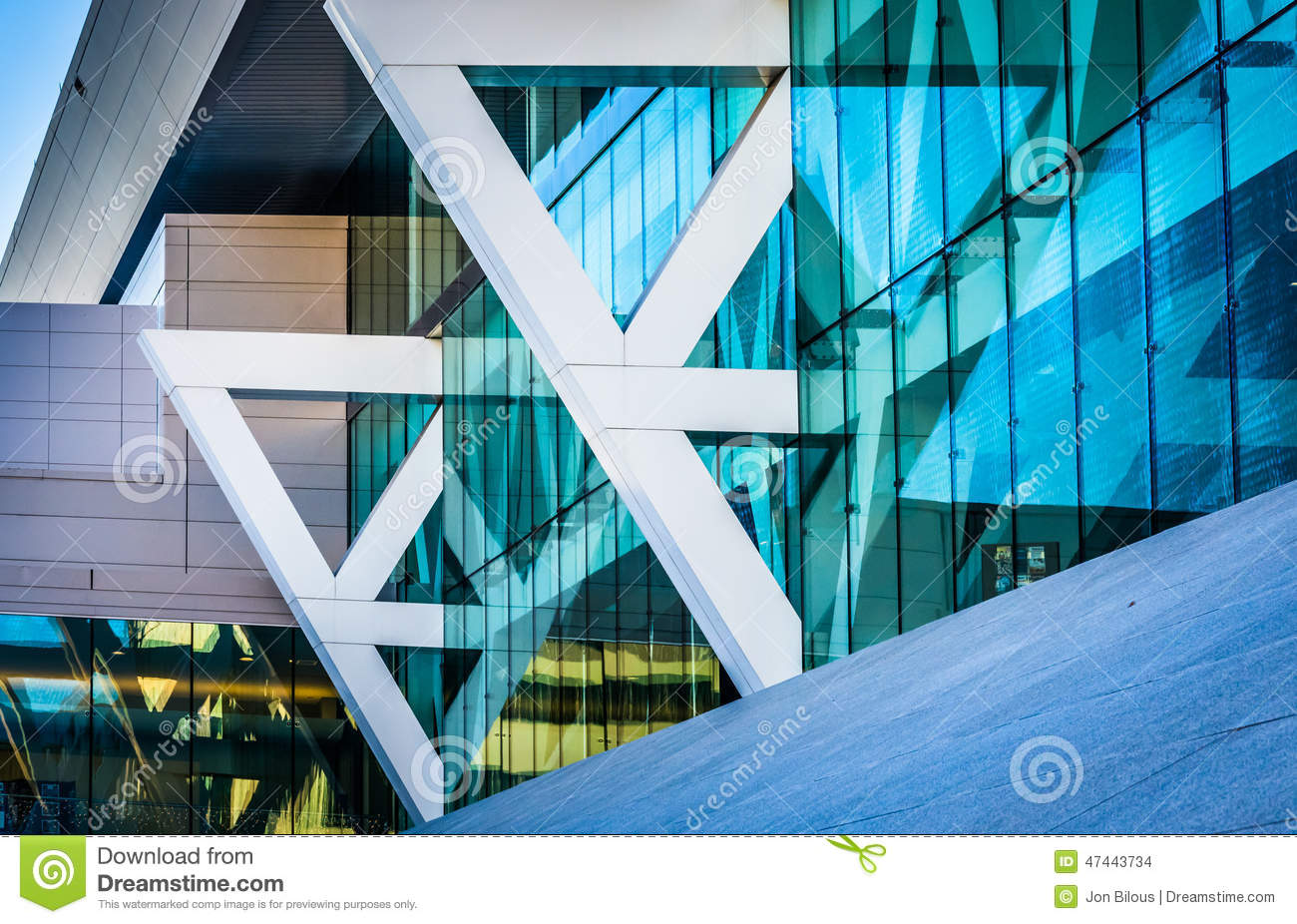 Architectural details of the Convention Center in Baltimore, Mar