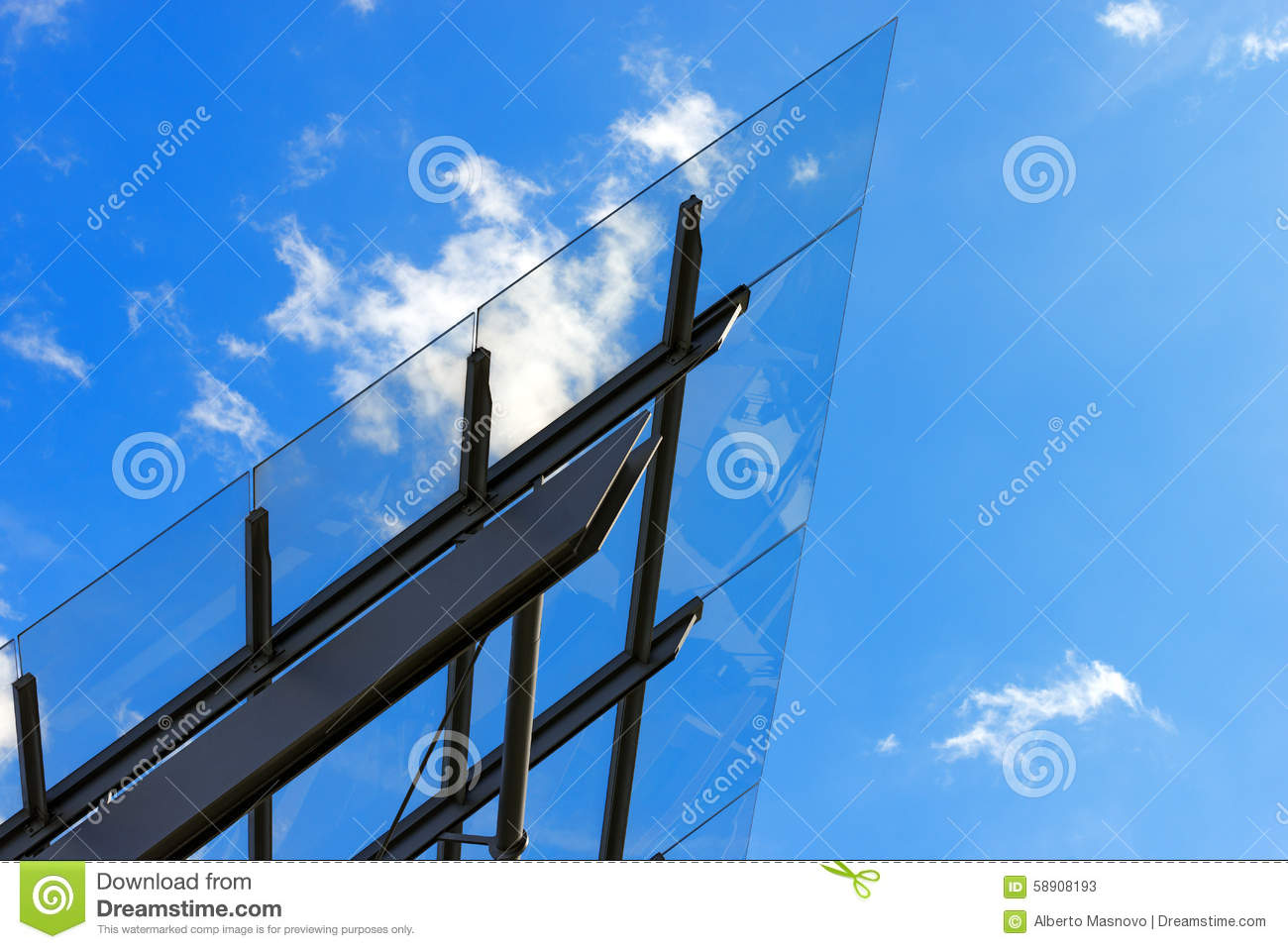 Architectural Details of a Glass and Steel Building